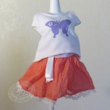 Коралловая юбка с белой туничкой