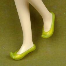 Лодочки желтые прозрачные с загнутым носиком