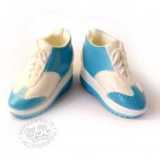 Кроссовки (кеды)  на платформе  бело-голубые