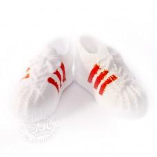 Кроссовки белые с красными полосками