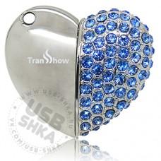 Флешка сердце со стразами на магнитах, 4gb