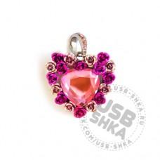 Флешка сердце букет из роз